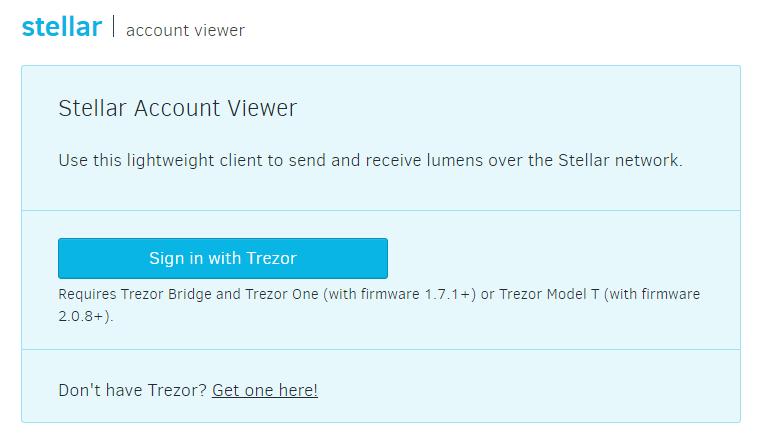stellar account viewer trezor